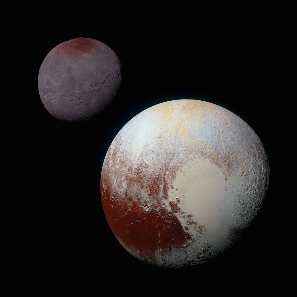 Colorized Image of Pluto and Charon (courtesy NASA).