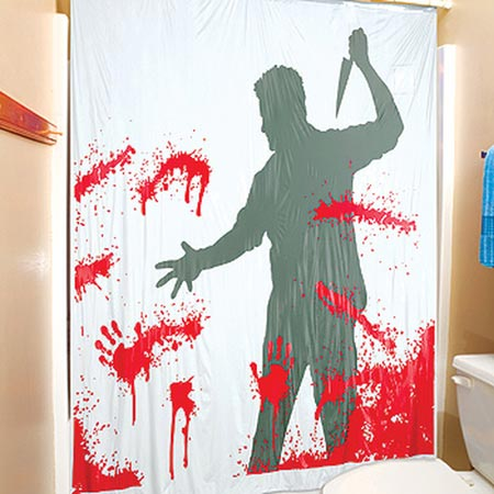 Psycho Inspired Shower Curtain Cool for Halloween Use Only