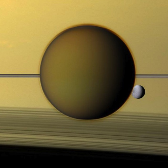 Titan and Dione Via Cassini
