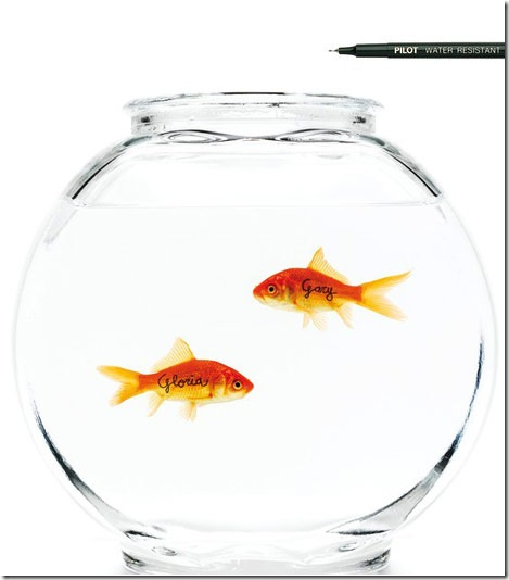 Pilot Pen Ad Featuring Fish in a Fishbowl