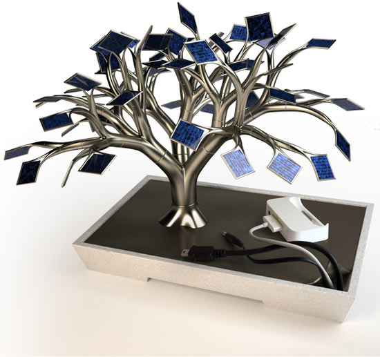 Solar Charging Tree for gadgets mimics photosynthesis