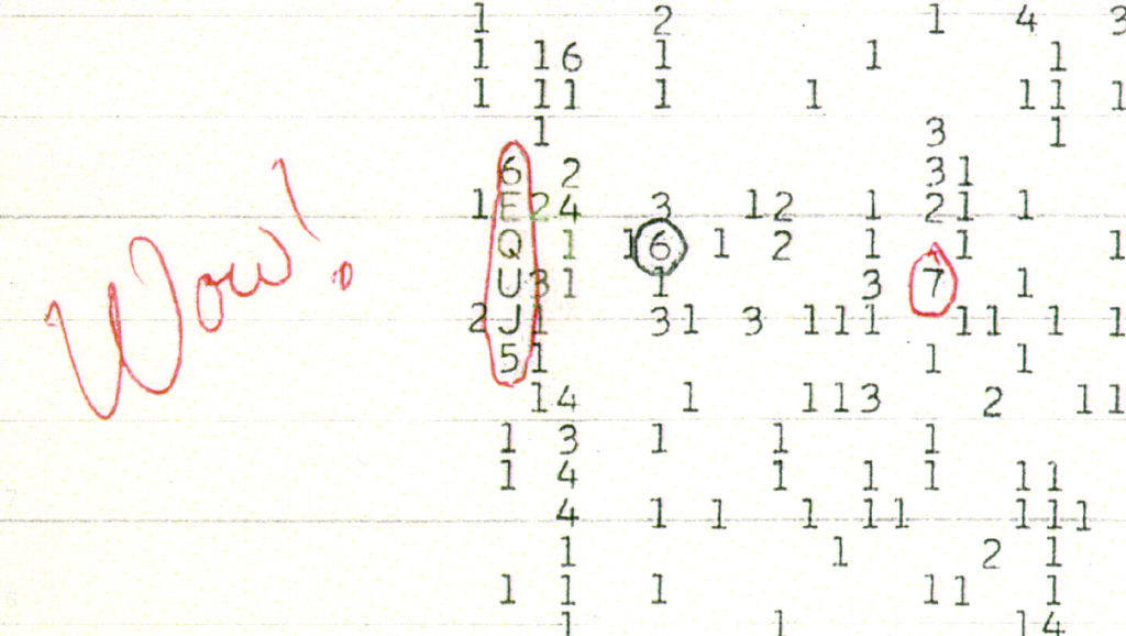 The mysterious radio signal as it was discovered by Astronomer Jerry R. Ehman.